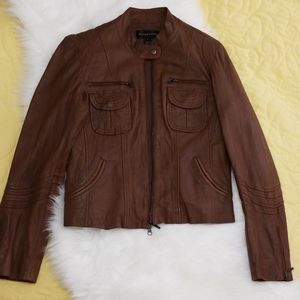Bagatelle Tobacco Brown Leather Moto Jacket size M